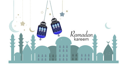 Lights for Ramadan. The Islamic greeting card for holy month of Ramadan Kareem vector background