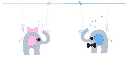 Baby newborn hanging baby boy baby girl symbols with cute pink blue elephants