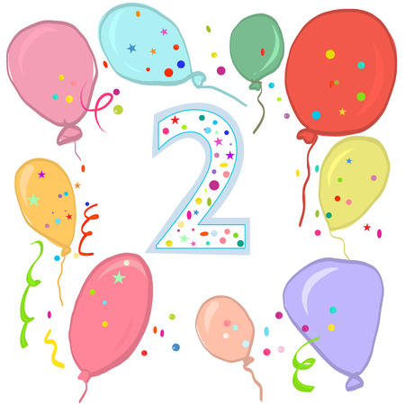 Happy second birthday. Colorful balloon greeting card