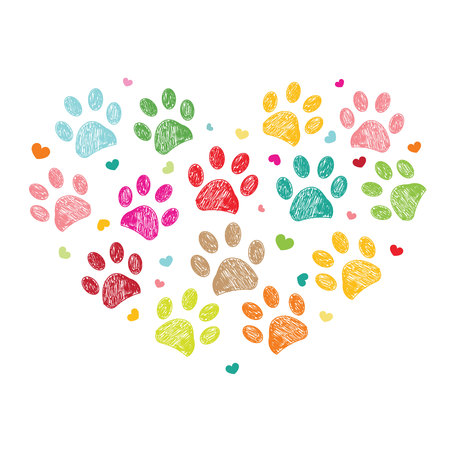 pete: Heart with colorful paw print Illustration