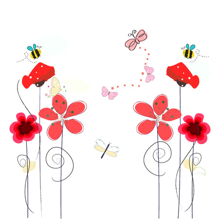 Spring time red poppy flowers, bee, butterfly. Floral background