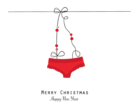 Merry christmas greeting with red panties hanging