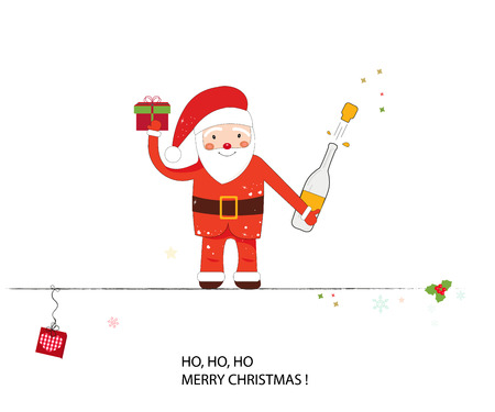Santa claus and wine bottle. Happy new year and merry christmas greeting card Illustration