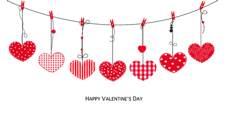 Happy Valentines Day card with hanging love Illustration