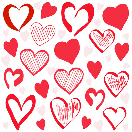 Hand drawn red hearts pattern background