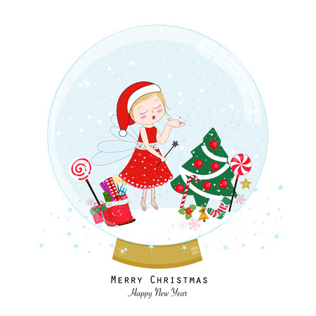 Snow globe. Happy new year merry christmas greeting card. Santa claus fairy tale sending fairy dust Illustration
