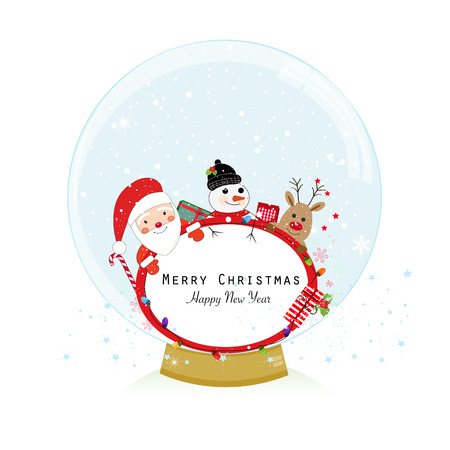 Snow globe. Santa claus, deer and snow man. Happy new year merry christmas greeting card Illustration