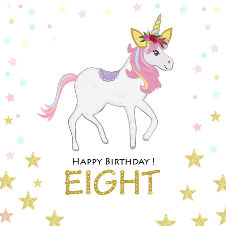 Birthday greeting card design for eight year old template