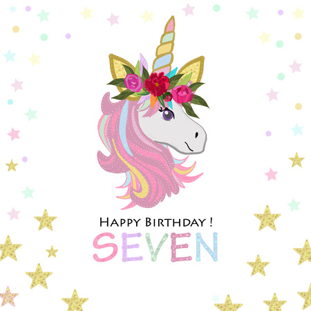 Birthday greeting card design for seven year old template