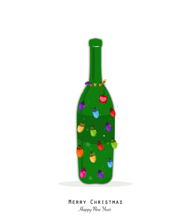 Christmas champagne bottle with colorful christmas light bulb