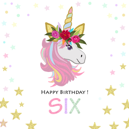 Birthday greeting card design for six year old template