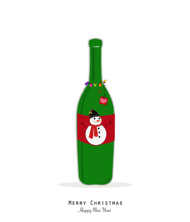 Christmas champagne bottle with snowman and colorful christmas light bulb.