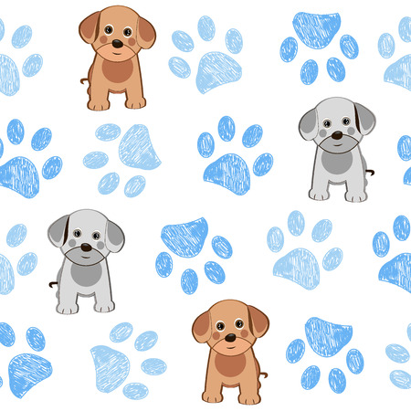 Cute dog and doodle paw prints blue paws pattern Stock Illustratie