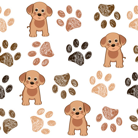 Cute dog and doodle paw prints brown paws pattern Stock Illustratie