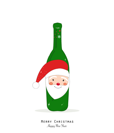 Santa Claus and Christmas champagne bottle Illustration