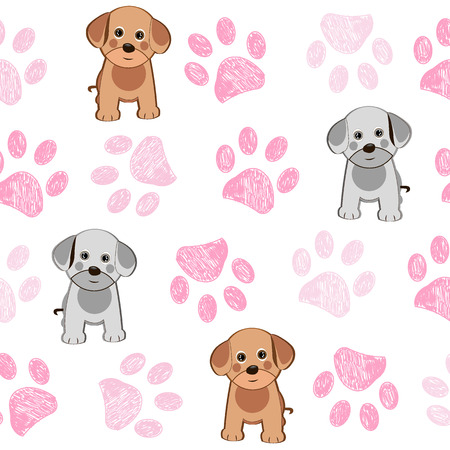 Cute dog and doodle paw prints pink paws pattern Stockfoto - 108457191