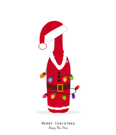 Santa Claus. Christmas champagne bottle with colorful christmas light bulb Ilustração