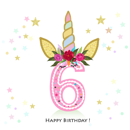 Birthday greeting card design for 6 year old template Stock Illustratie