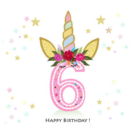 Design biglietto di auguri di compleanno per modello di 6 anni