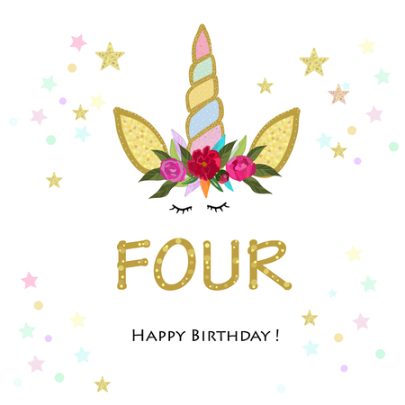 Birthday greeting card design for 4 year old template