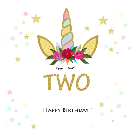 Birthday greeting card design for 2 year old template