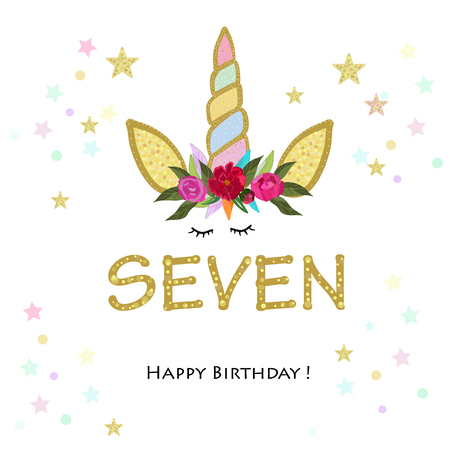 Birthday greeting card design for 7 year old template
