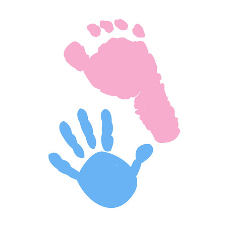 Baby foot and hand prints. Twin symbol