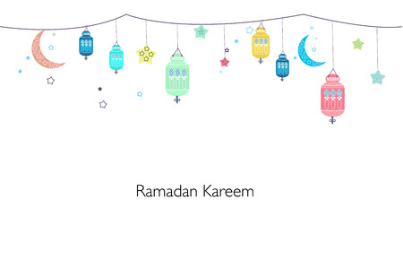 Ramadan Kareem with lamps, crescents and stars. Traditional colorful lantern of Ramadan greeting card
