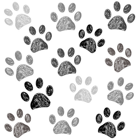 Hand drawn doodle paw print black white background