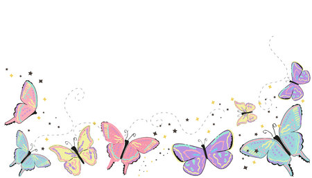 Colorful butterflies abstract spring background Stock Illustratie