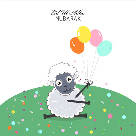 Funny sheep with balloon Illustration