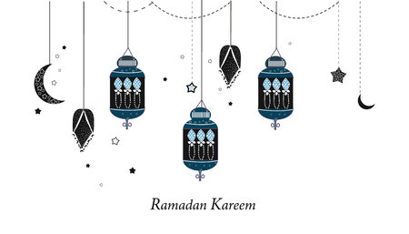 Ramadan Kareem with lamps, crescents and stars. Traditional black lantern of Ramadan greeting card