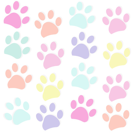 Colorful rainbow coloreds paw prints