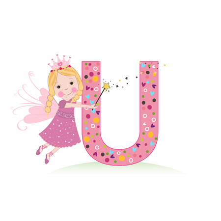 U letter with a cute fairy tale
