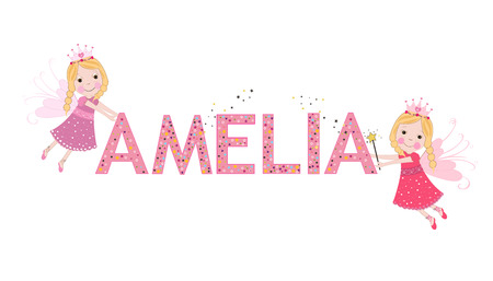 Amelia female name with cute fairy tale Illustration
