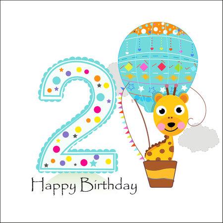 Deuxième anniversaire avec montgolfière et girafe. Carte de voeux joyeux anniversaire