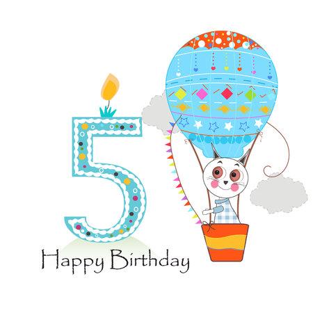 Montgolfière et chats. Carte de voeux joyeux anniversaire Vecteurs
