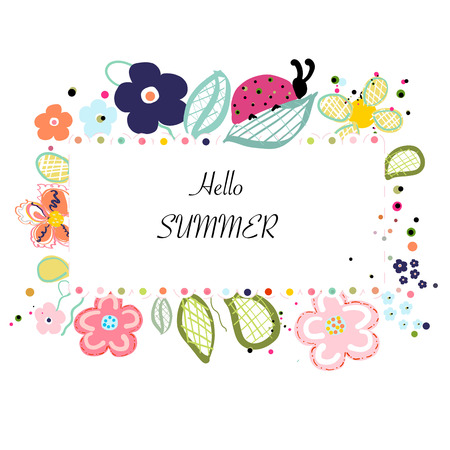 Abstract decorative summer flowers background Illustration