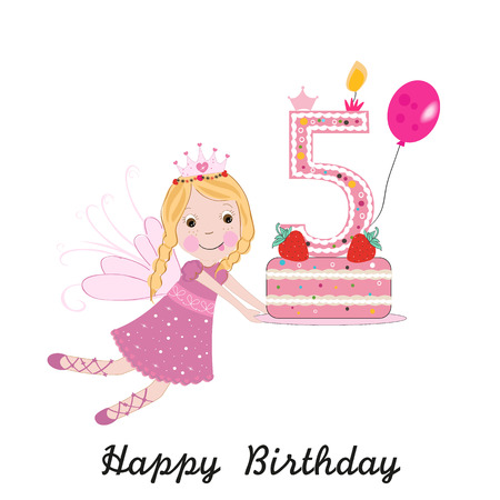 Tarjeta de felicitación de quinto cumpleaños. Lindo, hada, tenencia, pastel