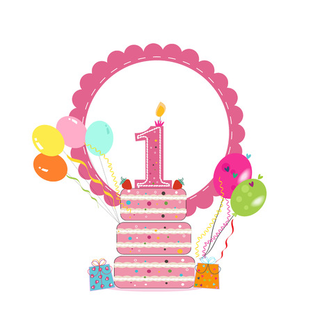 First birthday cake with frame, balloon. Birthday greeting card background