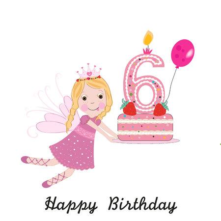 Sixth birthday greeting card. Cute fairy holding cake Illustration