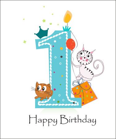 Air balloon and cute cats. Happy birthday greeting card Ilustração