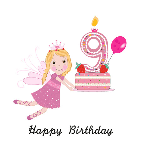 Ninth birthday greeting card. Cute fairy holding cake