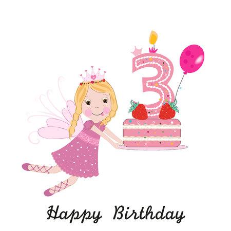 Tarjeta de felicitación de tercer cumpleaños. Lindo, hada, tenencia, torta