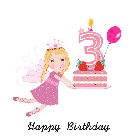 Third birthday greeting card. Cute fairy holding cake