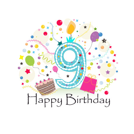 Ninth birthday greeting card. Birthday greeting card Ilustração