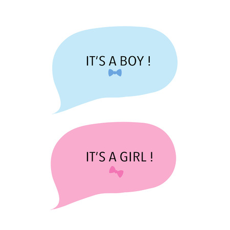 Baby girl and baby boy. Speech ballon pink and blue. Baby shower greeting card Vector Illustration