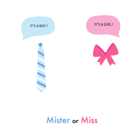 Baby gender reveal. Tie and ribbon. Baby girl and baby boy. Baby shower greeting card