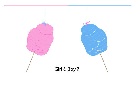 Cotton candy gender reveal. Baby girl with a teddy bear Illustration
