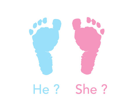 Baby foot prints. Baby gender reveal. Pink and blue foot prints background Banque d'images - 108826388